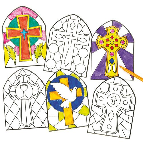 stained-glass-effect-cross-window-decoration-kits-christian-craft-activities-church-sunday-school-pa