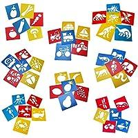 Tosnail plástico dibujo pintura plantilla plantillas para niños Crafts–Plantilla Lavable para proyectos escolares–Set de 24en colores al azar.