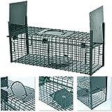 Trampa para capturar animales vivos 64 x 21 x 23 cm - 2 entradas, marco reforzado con revestimiento en polvo y protección anti-mordiscos. Trampa para roedores lista para usar