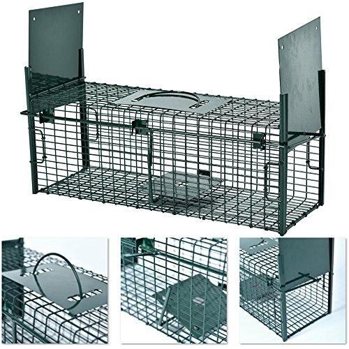 *Lebendfalle 53 x 19 x 19 cm mit 2 Eingängen Drahtfalle / Rattenfalle mit Bissschutz & Trittbrett professionelle Tierfalle mit Rahmenverstärkung Türsicherung sofort einsatzbereit & pulverbeschichtet*