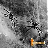 Decoración para Halloween Bramble - 10 arañas y 60g de telas de araña – Paquete de Oferta