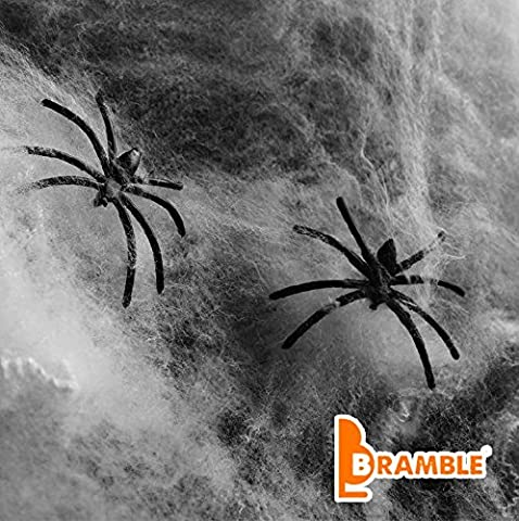 Décorations Halloween Bramble - 10 araignées + 65g de toile d'araignée blanche - Offre Pack