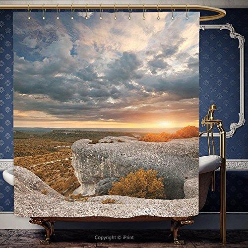 182,9x 190,5cm Duschvorhang Mountain Zusammensetzung der Natur Herbst Landschaft Cloudscape Rock Formation caramel blau grau 10485Polyester Badezimmer Zubehör Home Dekoration, Polyester, Multy, 66W x 72H Inch Thomas Duschvorhang
