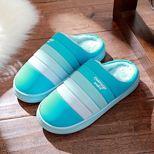 Doghaccd Pantoufles, Pantoufles En Cuir Imperméable Femelle Anti-dérapant Coton Pantoufles D'hiver Hommes Couples Épaisse Couverture D'hiver Chaud Chaussures Bleu Sky1