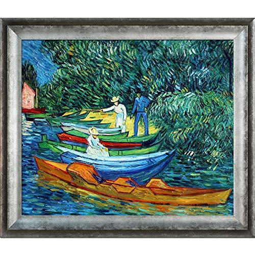 overstockArt Ölgemälde, Ruderboote auf den Ufern der Oise mit Athenen, silberfarbener Rahmen, 73,7 x 63,5 cm, Mehrfarbig Athenian Distressed, Bilderrahmen 29