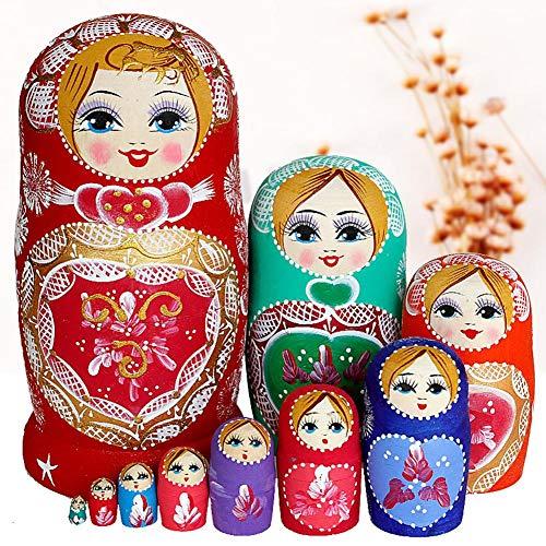 Muñecas rusas de anidación, 10 unids Matryoshka muñecas de madera hechas a mano muñecas de madera de juguete de regalo para los regalos de Navidad