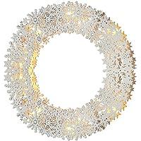 WeRChristmas Pre-Lit Snowflake Wreath Table Christmas Decoration, Wood, 32 cm - White