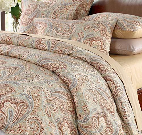 SexyTown Bettwäsche-Set aus ägyptischer Baumwolle, Blumenmuster, Tiefe Taschen, 4-teilig Queen Floral H (Queen Baumwolle Floral Bettwäsche)