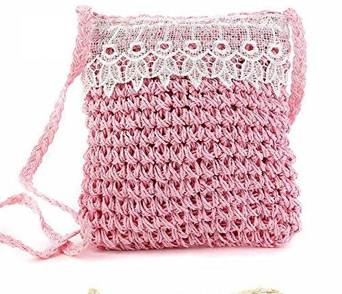 Stroh Spitze Crossbody Tote Hohle Tasche Woven Häkeln Solid Farbe Frauen Stricken Freizeit Reise Sommer Strand Tote Pink