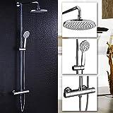 Duschsystem Duscharmatur mit Regendusche Überkopfdusche und Handbrause Duschsäule Duschset verchromt