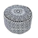 l'art Boîte Noir et Blanc Mandala décoratif Ottoman Housse de Pouf Repose-Pieds Assise Pouf de Sol Rond Pouf Ottoman Housse Ethnicpouf Coussins Bohemian Decor Pouf, 100% Coton.