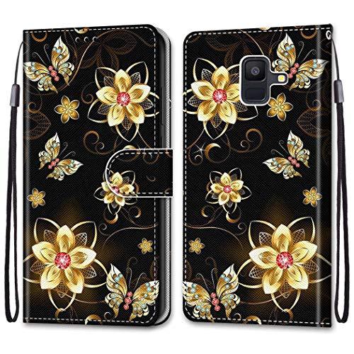 Nadoli Bunt Leder Hülle für Samsung Galaxy A8 2018,Cool Lustig Tier Blumen Schmetterling Entwurf Magnetverschluss Lanyard Flip Cover Brieftasche Schutzhülle mit Kartenfächern