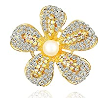 Yilanair Flower Crystal Pearl Brooch Pin for Dress (Gold)