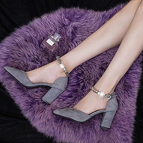 XY&GK Damen Sandalen wies Grob Schuhe Schuhe Pumps High Heels Damen Schuhe 34 Grau