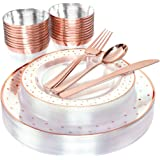 BUCLA 25guest Rose Gold Plastic Plates with Disposable Plastic Silverware&9oz Cups- Dot Plastic Dinnerware include 25 Dinner