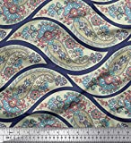 Soimoi Blau Kunstseide Stoff Wellen, Blumen & Paisley
