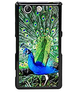 FUSON Designer Back Case Cover for Sony Xperia Z4 Compact :: Sony Xperia Z4 Mini (Nice Colourful Long Attract His Mate Peacock Feathers Beak)