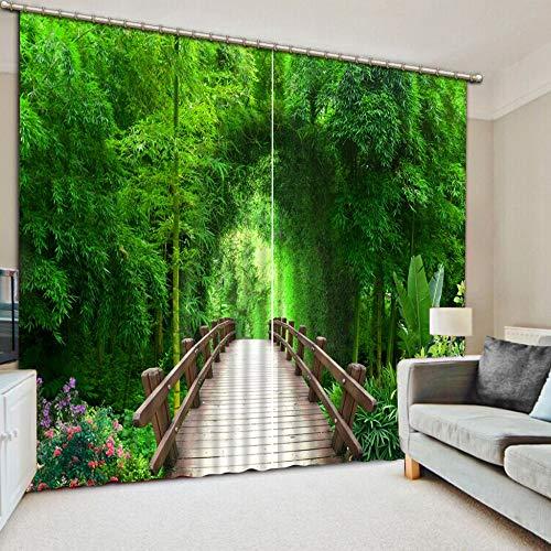 Jede Größe Vorhänge Für Baby Wohnzimmer Schlafzimmer Dekoration Vorhänge Holzbrücke Bambus Wald-H240Xw220Cm
