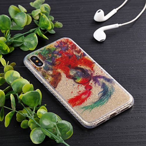 Custodia iphone X 5.8, iphone 10 Cover Glitter, Ekakashop Cover Morbido Sparkly Bling Bling Glitter TPU Silicone Gomma Soft Cover, Belle Bello Trasparente Crystal Clear Protettiva Back Cover Case Cus IMD-Wolf Campanula
