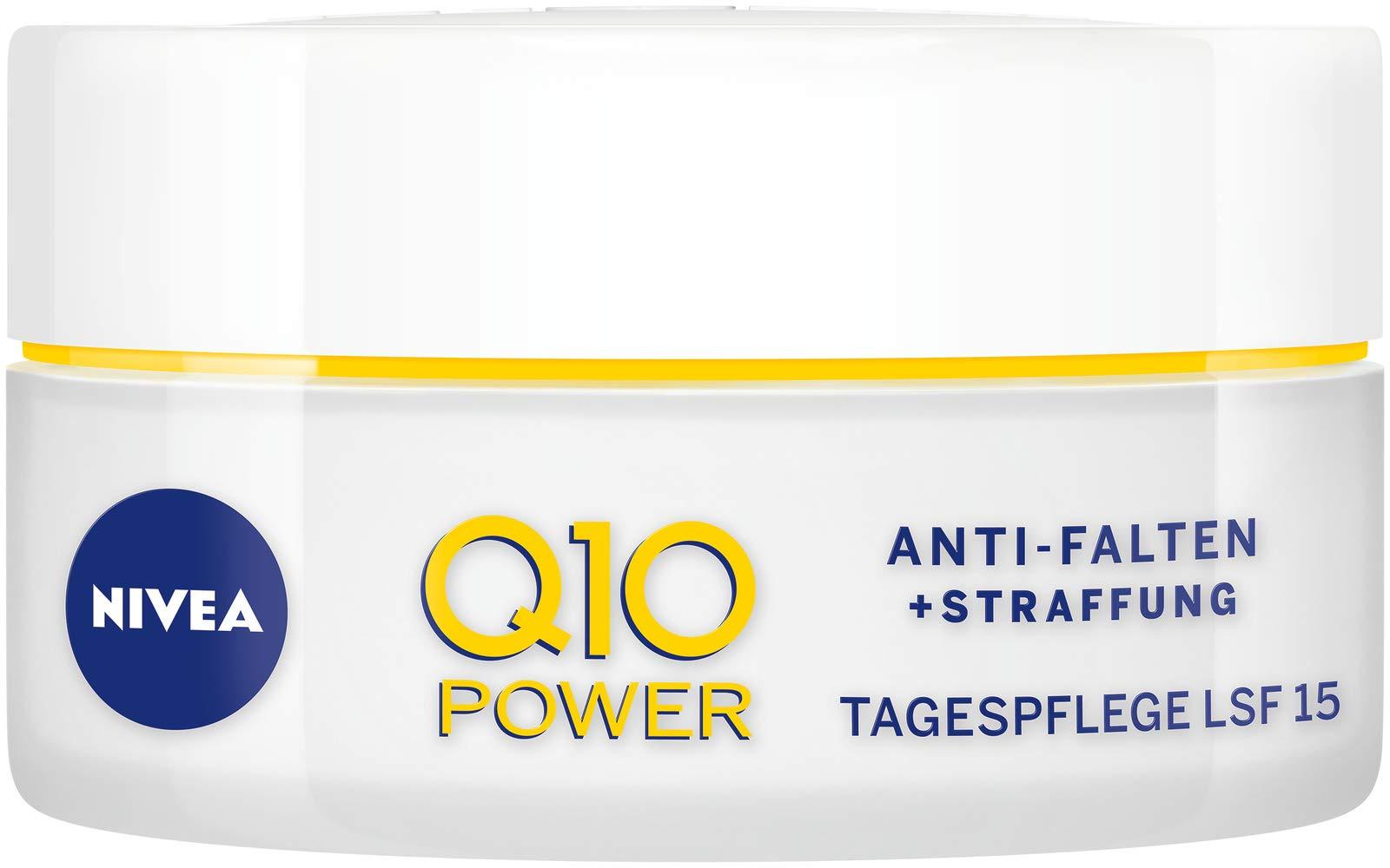 Crema de día Nivea Q10 Power antiarrugas + reafirmante, para una piel más lisa y joven, crema de día con FPS 15, 2…