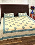 Stylish Beige Cotton Bed Sheet Floral Do...