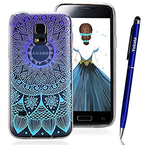 Case for Samsung Galaxy S5 Mini, Yokata Gradient Colour Vintage Mandala Sunflower Pattern Transparent Protective Case Ultra Thin Transparent Impact Resistant Flexible Soft TPU Silicone Bumper Case for Samsung Galaxy S5 Mini + 1 X Capacitive Pen - Purple and Blue