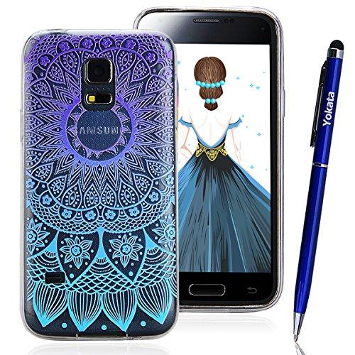 Samsung Galaxy S5 Mini Hülle, Yokata TPU Silikon Weich Cover Durchsichtig mit Gradient Mandala Tribal Muster Case 1 x Kapazitive Feder