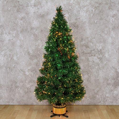 XMASKING Albero Verde 150 cm, Fibre ottiche sfumate, Giochi di Luce Colorati, trasformatore 12V, Alberi di Natale Finti, alberelli Colorati