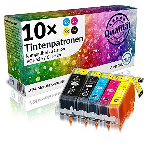 Bk Kompatible Tinte (NTT 10 XXL kompatible Druckerpatronen als Ersatz für Canon PGI-525 BK CLI-526 C CLI-526M CLI-526Y CLI-526BK (4x Schwarz, 2xCyan, 2xMagenta, 2xYellow))