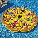 Funihut Bouée Gonflable Géante Enfant Adulte en Forme Pizza Jaune Piscine Plage Vacance Mer(180x150CM)