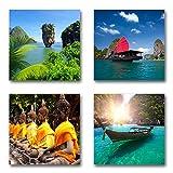 Thailand - Set A schwebend, 4-Teiliges Bilder-Set je Teil 29x29cm, Seidenmatte Moderne Optik auf Forex, UV-Stabil, Wasserfest, Kunstdruck für Büro, Wohnzimmer, XXL Deko Bild