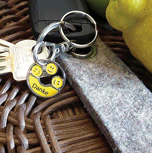 Geschenkanhänger - 3 Niedliche Emoji - DANKE Smiley's | Trendy Dekor für Handtaschen, Schlüsselbund etc. | silber / gelb - handlackiert