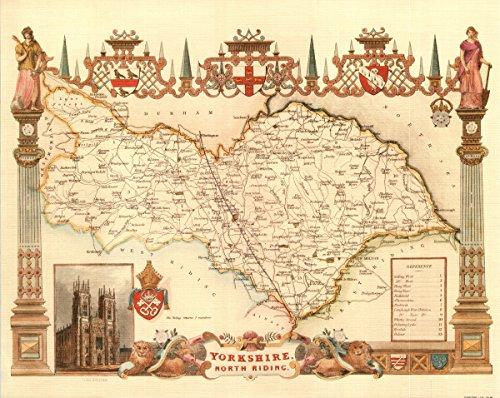 North Yorkshire-Antike Weltkarte-- Karte, 50.80 x 40.64 cm - County England-antik-karte