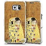Samsung Galaxy S6 Lederhülle Handyhülle mit Klappe Klappfunktion Flip Case Klimt The Kiss Art