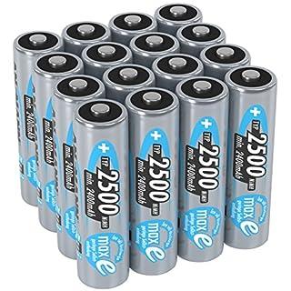 ANSMANN Akku AA Mignon 2500mAh 1,2V NiMH 16 Stück für Geräte mit hohem Stromverbrauch - Wiederaufladbare Batterien maxE - Akkus für Spielzeug, Taschenlampe, Contoller uvm - Rechargeable Battery