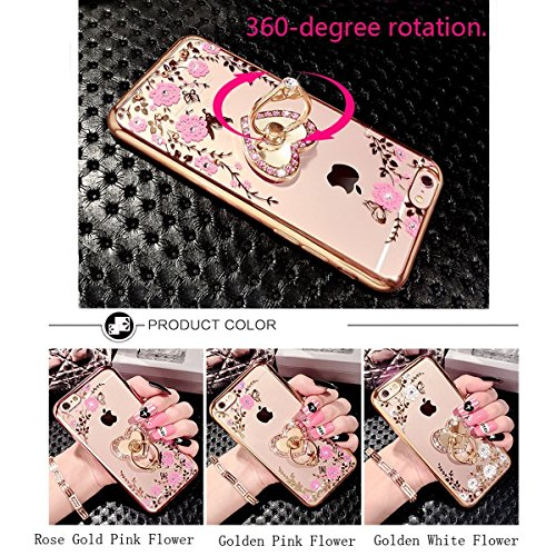 Coque Samsung Galaxy A5 2017,Coque Galaxy A5 2017 Transparent Liquid Crystal Ultra Fine Premium Souple TPU Silicone avec 360° Support de Téléphone,Etsue Galaxy A5 2017 Luxury Plating Rose Coque Paille Platin*Ring*Laniard-Doré
