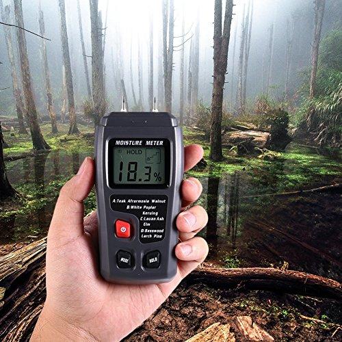 Feuchtigkeitsmessgerät Feuchtigkeitsmesser Holzfeuchtemessgerät Brennholz stihl von Hihoddy mit großes LCD-Display für Holz, Stein und Wände, Baterrie enthalten