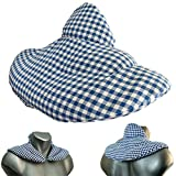 Cuscino del collo | bianco-blu | Cuscino termico con semi di lino | Terapia caldo e freddo