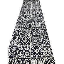 Tappeto cucina a metraggio PVC largo 55 mosaico cementine blu notte