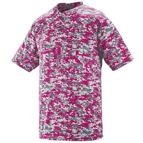 Augusta Sportswear MEN'S DIGI CAMO WICKING TWO-BUTTON JERSEY - Power Pink Digi 1555A S