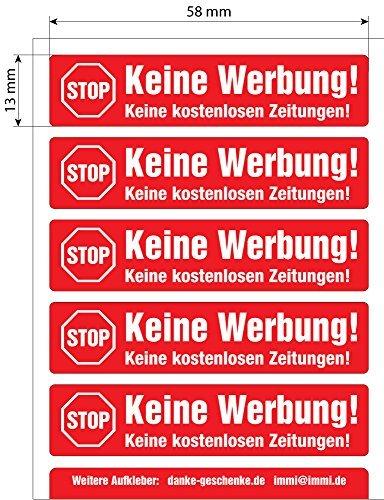 5 Keine Werbung Aufkleber 58x13mm, in Rot, einzeln abziehbar, in Vinyl, Stop Briefkastenwerbung, z.B. für Renz Briefkästen