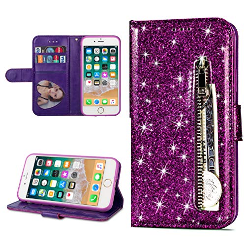 Coque iphone 7, iphone 8 Housse en Cuir LaVibe PU Leather Etui Portefeuille à Rabat Glitter Clapet Support Fermeture éclair Porte Video Stand, Flip Wallet Protective Case Cover–Violet