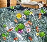 Yosot 3D Boden Wasser Lotus Karpfen Benutzerdefinierte Bad 3D Bodenbelag Selbstklebende Wasserdichte 3D Pvc Tapete Boden-250Cmx175Cm
