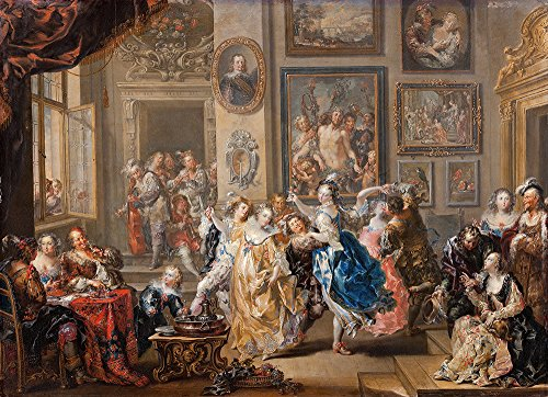 johann-georg-platzer-dancing-scene-with-palace-interior-extra-large-semi-gloss-brown-frame
