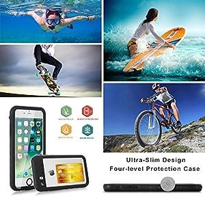 Funda Impermeable iPhone 8 / iPhone 7, IP68 Waterproof Outdoor Delgado Cover a Prueba de choques Anti-rasguños Full Body con Protector de Pantalla Impermeable Funda para iPhone 8/7 (Black with Strap)