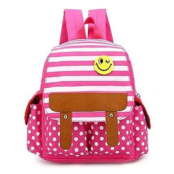 Flyingsky Dot Cute Kids Backpack Stripe Boys Girls School Bag Baby Book Pink Amazoncouk Luggage