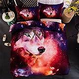 CHAOSE Wolf Universum Bettwäsche Set,Superweiche Polyester-Baumwolle,3-teilig (1 Bettbezug + 2 Kissenbezüge 48x74cm) (King Size(220x240CM 2.2 M Breites Bett))