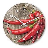 Wanduhr mit Motiv - Peperoni - aus Echt-Glas | runde Küchen-Uhr | große Uhr modern