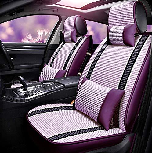 Phcom Auto Autositzauflage, atmungsaktiv Comfort Fron Drivers Orpassenger Sitzbezug, Universalzubehör-Sets Sommerbezüge Ice Silk Protector Five-Seat, Lila,Lila