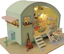 Puppenhaus aus Holz zur Selbstmontage von Mamum, mit niedlichen Zimmern und Uhrturm, Mini-Puppenhaus mit Motor, LED und Musik, Zeitreise